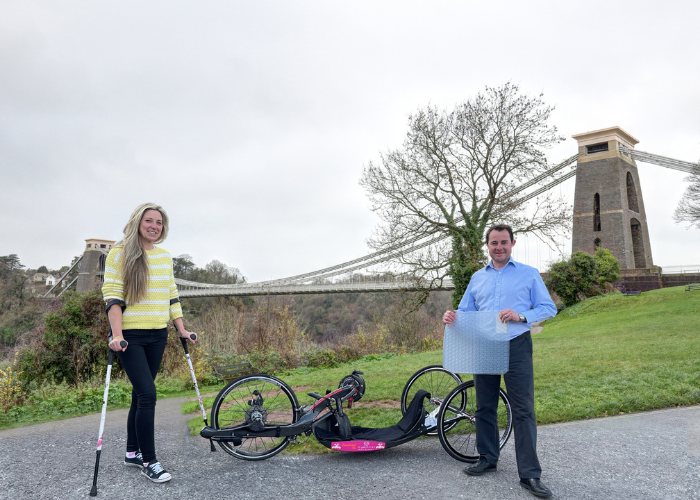 L-R Paralympian Mel Nicholls pictured at Clifton Suspension Bridge with James Payne, Managing Director of Gel Ovations Europe